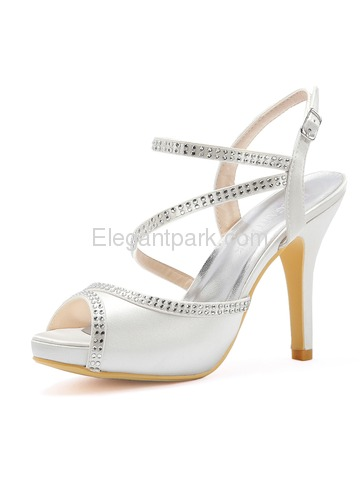 Women High Heel Platform Open Toe Ankle Strap Rhinestones Satin Evening Party Sandals (HP1805I)