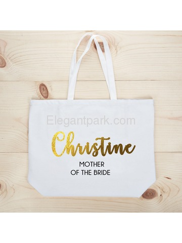 PERSONALIZED Gold Foil Mother-bride Tote Wedding Gift White Shoulder Bag 100% Cotton …