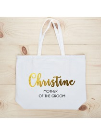 PERSONALIZED Gold Foil Mother-groom Tote Wedding Gift White Shoulder Bag 100% Cotton …
