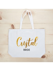 PERSONALIZED Gold Glitter Bride Tote Wedding Gift White Shoulder Bag 100% Cotton …