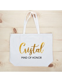 PERSONALIZED Gold Glitter Maid Tote Wedding Gift White Shoulder Bag 100% Cotton …