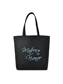 Matron of Honor Heavy Tote Bag Wedding Bridal Shower Gift Canvas 100% Cotton Black Aqua Embroidered