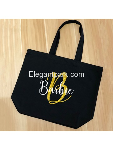 PERSONALIZED Initial B Monogram Wedding Tote Bridal Party Gift Black Shoulder Bag 100% Cotton …