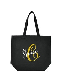 PERSONALIZED Initial G Monogram Wedding Tote Bridal Party Gift Black Shoulder Bag 100% Cotton …