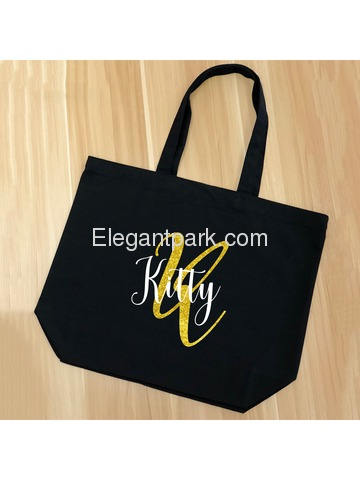 PERSONALIZED Initial K Monogram Wedding Tote Bridal Party Gift Black Shoulder Bag 100% Cotton …