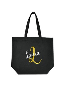 PERSONALIZED Initial L Monogram Wedding Tote Bridal Party Gift Black Shoulder Bag 100% Cotton …