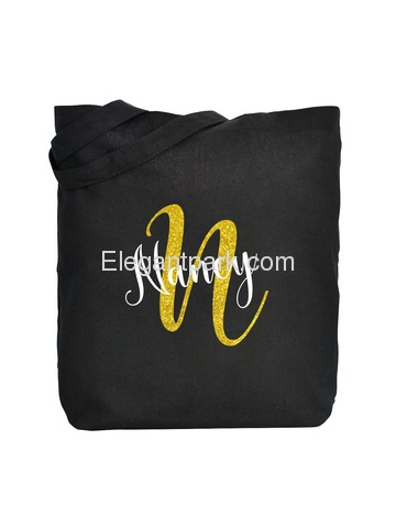 PERSONALIZED Initial N Monogram Wedding Tote Bridal Party Gift Black Shoulder Bag 100% Cotton …