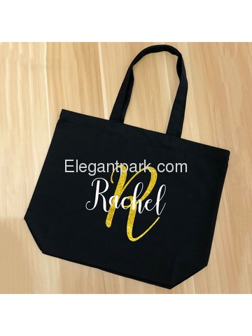 PERSONALIZED Initial R Monogram Wedding Tote Bridal Party Gift Black Shoulder Bag 100% Cotton …