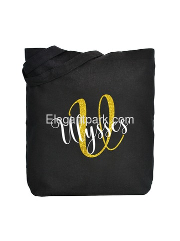 PERSONALIZED Initial U Monogram Wedding Tote Bridal Party Gift Black Shoulder Bag 100% Cotton …