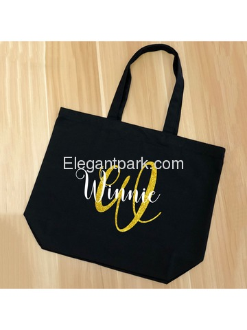 PERSONALIZED Initial W Monogram Wedding Tote Bridal Party Gift Black Shoulder Bag 100% Cotton …