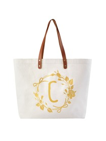 ElegantPark Eco-Friendly Wedding Shopping Grocery Tote Bag Interior Pocket 100% Cotton ,Letter C