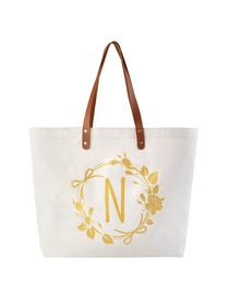 ElegantPark Large Reuseale Shopping Grocery Tote Bag with Interior Pocket 100% Cotton, Letter N