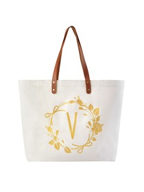 ElegantPark Travel Luggage Shopping Tote Bag with Interior Pocket 100% Cotton, Letter V