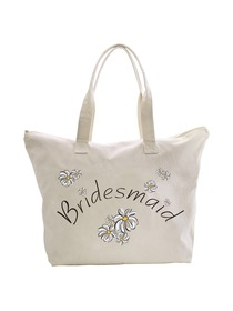 ElegantPark Bridesmaid Wedding Canvas Tote Bag Travel Daisy Zip 100% Cotton