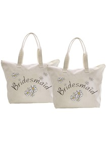 ElegantPark Bridesmaid Wedding Canvas Tote Bag Travel Zipdaisy Interior Pocket 100% Cotton 2 Packs