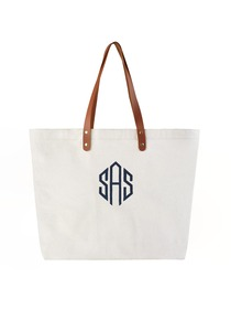 PERSONALIZED Custom Gift Tote Monogram Initial Diamond Embroidery Shoulder Bag with Interior Zip Poc