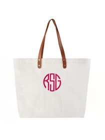 PERSONALIZED Custom Gift Tote Monogram Initial Circle Embroidery Shoulder Bag with Interior Zip Pock