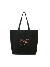 ElegantPark Bride to Be Wedding Tote Bridal Shower Gift Shoulder Bag Black with Pink Embroidered 100