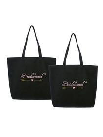 ElegantPark Bridesmaid Wedding Tote Bachelorette Gift Shoulder Bag Black with Pink Embroidered 100%