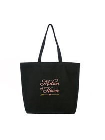 ElegantPark Matron of Honor Wedding Tote Bachelorette Gift Shoulder Bag Black with Pink Embroidered
