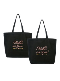 ElegantPark Mother of the Bride/Groom Wedding Tote Bridal Shower Gift Shoulder Bag Black with Pink E