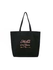 ElegantPark Mother of the Groom Wedding Tote Bridal Shower Gift Shoulder Bag Black with Pink Embroid