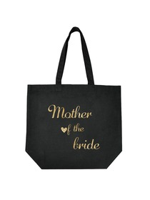 ElegantPark Mother of the Bride Tote Wedding Gifts Bridal Shower Bag 100% Cotton Black with Gold Gli