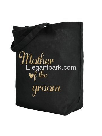 ElegantPark Mother of the Groom Tote Wedding Gifts Bridal Shower Bag 100% Cotton Black with Gold Gli