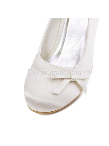 Elegantpark Ivory Round Toe Spool Heel Satin Bowknot Bridal Wedding Party Shoes (A0756)