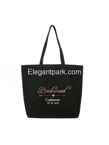 PERSONALIZED Pink Embroidered Bridesmaid Tote Wedding Bachelorette Party Gift Monogram Black Shoulde