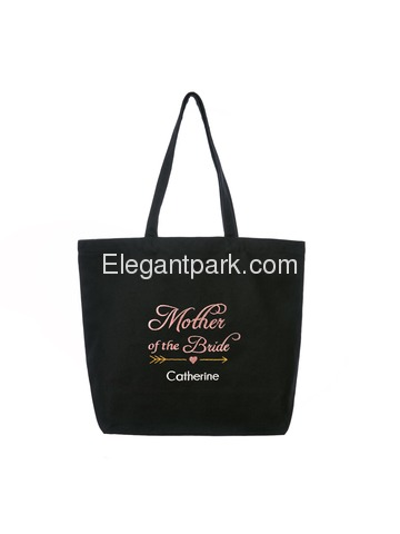 PERSONALIZED Pink Embroidered Mother of the Bride Tote Wedding Bachelorette Party Gift Monogram Blac