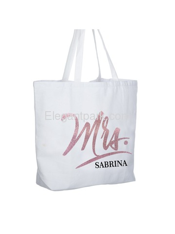 PERSONALIZED Mrs Wedding Bride Tote Bachelorette Party Gift Monogram Jumbo Shouler Bag White with R