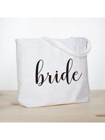 ElegantPark Bride Jumbo Tote Bag Wedding Bridal Shower Gifts Canvas 100% Cotton Interior Pocket Whit