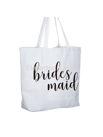 ElegantPark Bridesmaid Jumbo Tote Bag Wedding Gifts Canvas 100% Cotton Interior Pocket White with Bl