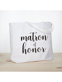 ElegantPark Matron of Honor Jumbo Tote Bag Wedding Bridesmaid Gifts White with Black Script 100% Cot