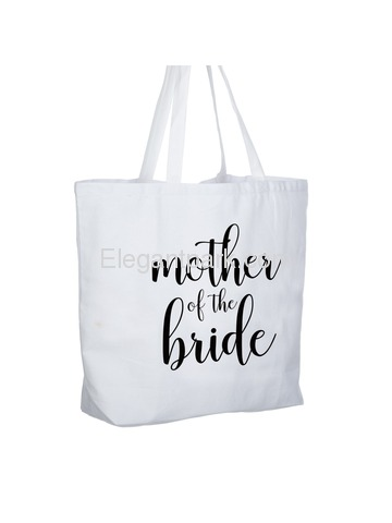 ElegantPark Mother of the Bride Jumbo Tote Bag for Wedding Gifts Canvas 100% Cotton Interior Pocket