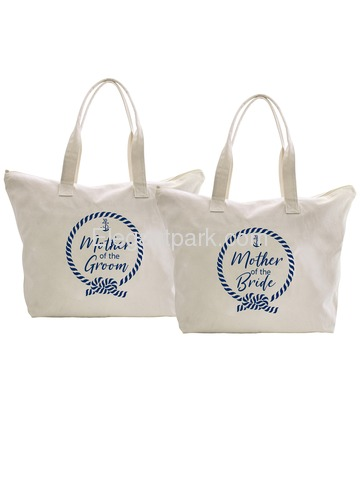 ElegantPark Loop Mother of the Bride/Groom Tote Bag Wedding Bridal Shower Gifts Zip 100% Cotton 2 Pc