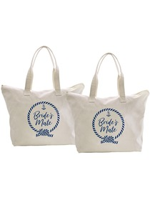 ElegantPark Loop Bride`s Mate Tote Bag Wedding Bridal Shower Gifts Zip 100% Cotton 2 Pcs