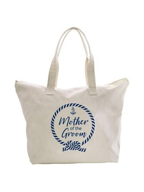 ElegantPark Loop Mother of the Groom Tote Bag Wedding Bridal Shower Gifts Zip 100% Cotton