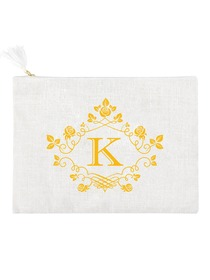ElegantPark K Initial Monogram Makeup Bag Personalized Party Gift Clutch with Bottom Zip Jute
