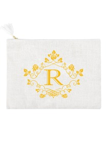 ElegantPark R Initial Monogram Makeup Bag Personalized Party Gift Clutch with Bottom Zip Jute