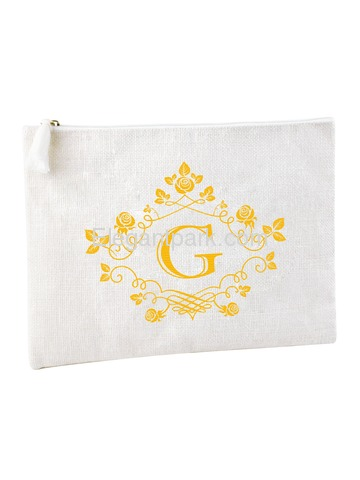 ElegantPark G Initial Monogram Makeup Bag Personalized Party Gift Clutch with Bottom Zip Jute