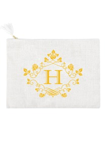 ElegantPark H Initial Monogram Makeup Bag Personalized Party Gift Clutch with Bottom Zip Jute