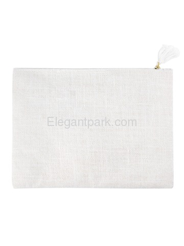 ElegantPark I Initial Monogram Makeup Bag Personalized Party Gift Clutch with Bottom Zip Jute