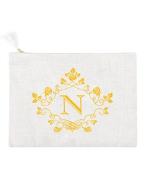 ElegantPark N Initial Monogram Makeup Bag Personalized Party Gift Clutch with Bottom Zip Jute