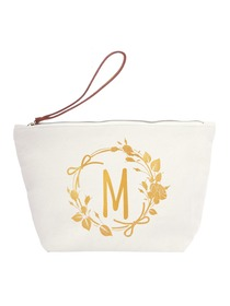 ElegantPark M Initial Monogram Makeup Cosmetic Bag Wristlet Pouch Gift with Bottom Zip Canvas