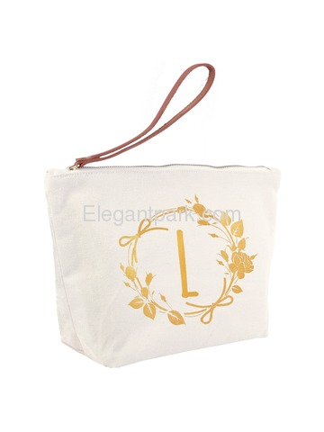 ElegantPark L Initial Monogram Makeup Cosmetic Bag Wristlet Pouch Gift with Bottom Zip Canvas