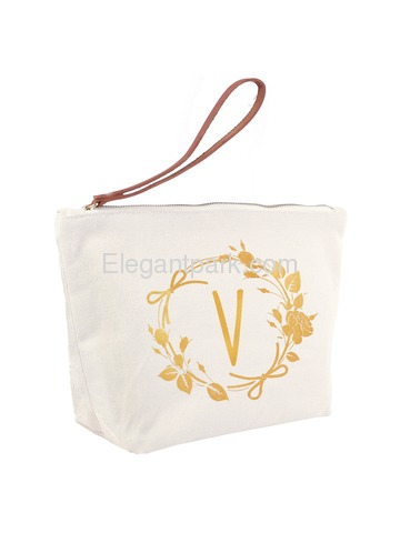 ElegantPark V Initial Monogram Makeup Cosmetic Bag Wristlet Pouch Gift with Bottom Zip Canvas