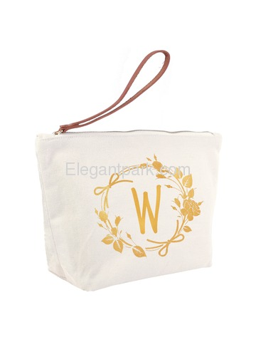 ElegantPark W Initial Monogram Makeup Cosmetic Bag Wristlet Pouch Gift with Bottom Zip Canvas