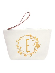 ElegantPark E Initial Monogram Makeup Cosmetic Bag Wristlet Pouch Gift with Bottom Zip Canvas